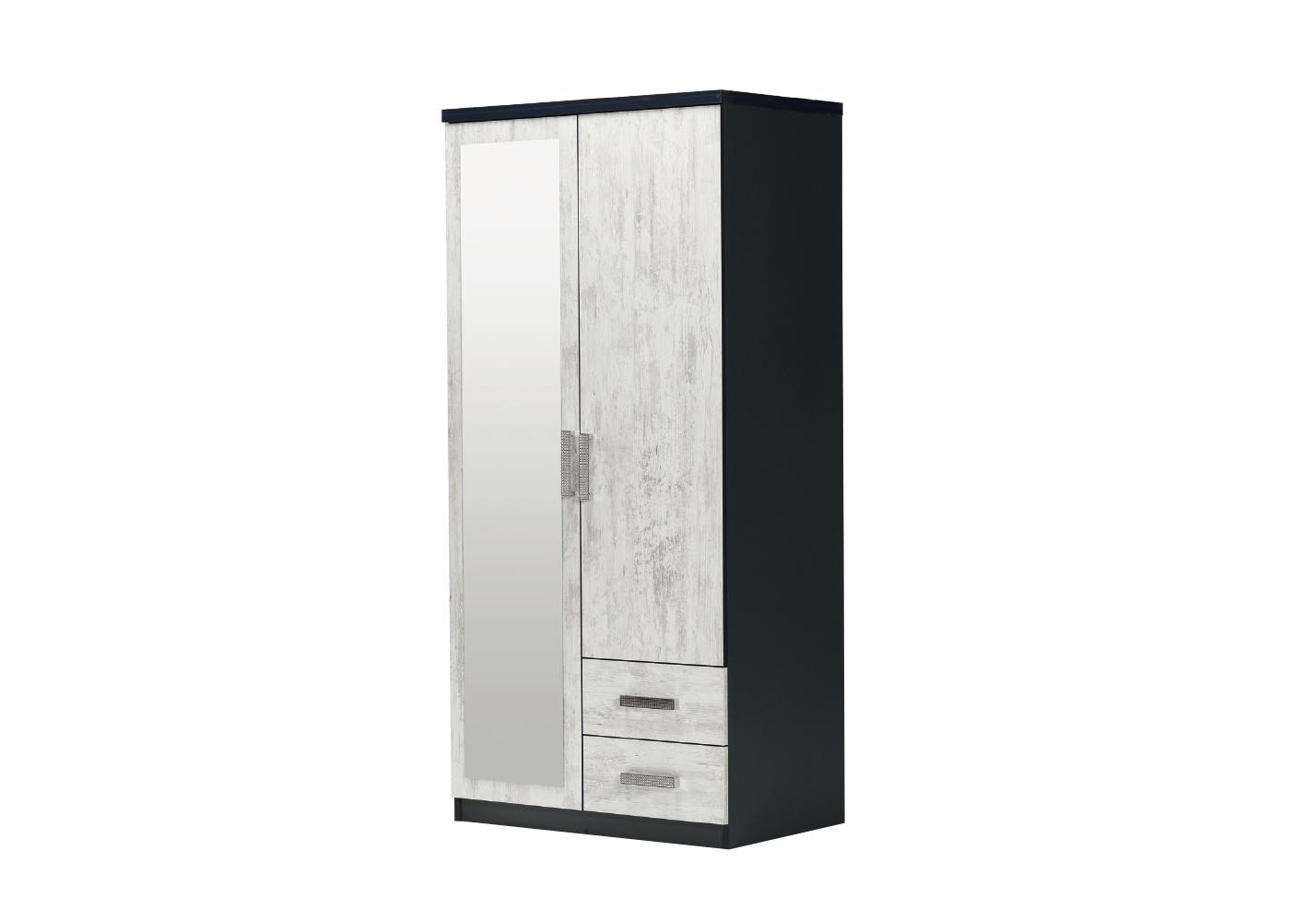 Armoire 2 portes 2 tiroirs miroir chêne blanc IBIZA