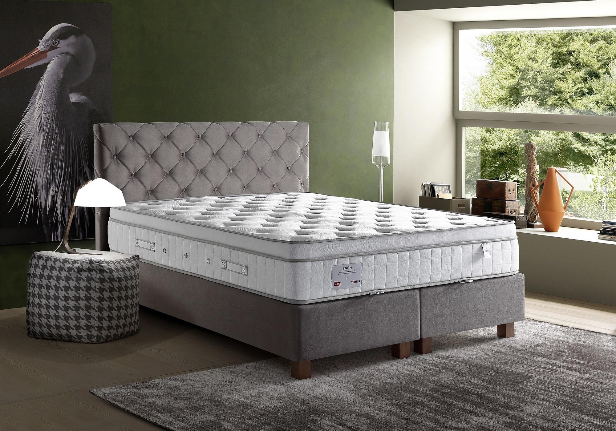 Lit coffre + tête de lit taupe + matelas 140x190 PRINCE/KARYA