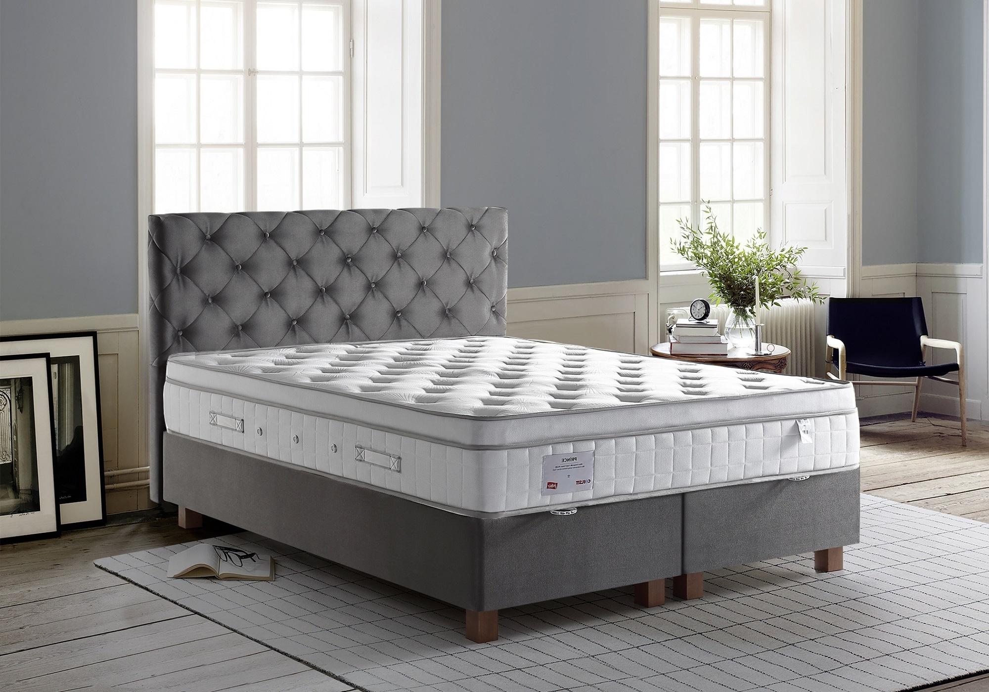 Lit coffre + tête de lit gris + matelas 140x190 PRINCE/KARYA