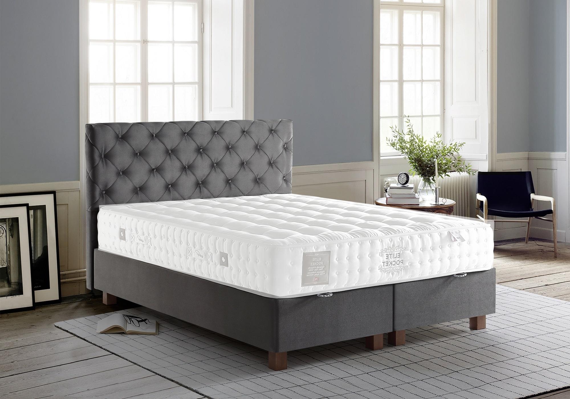 Lit coffre + tête de lit capitonnée gris 140x190 KARYA