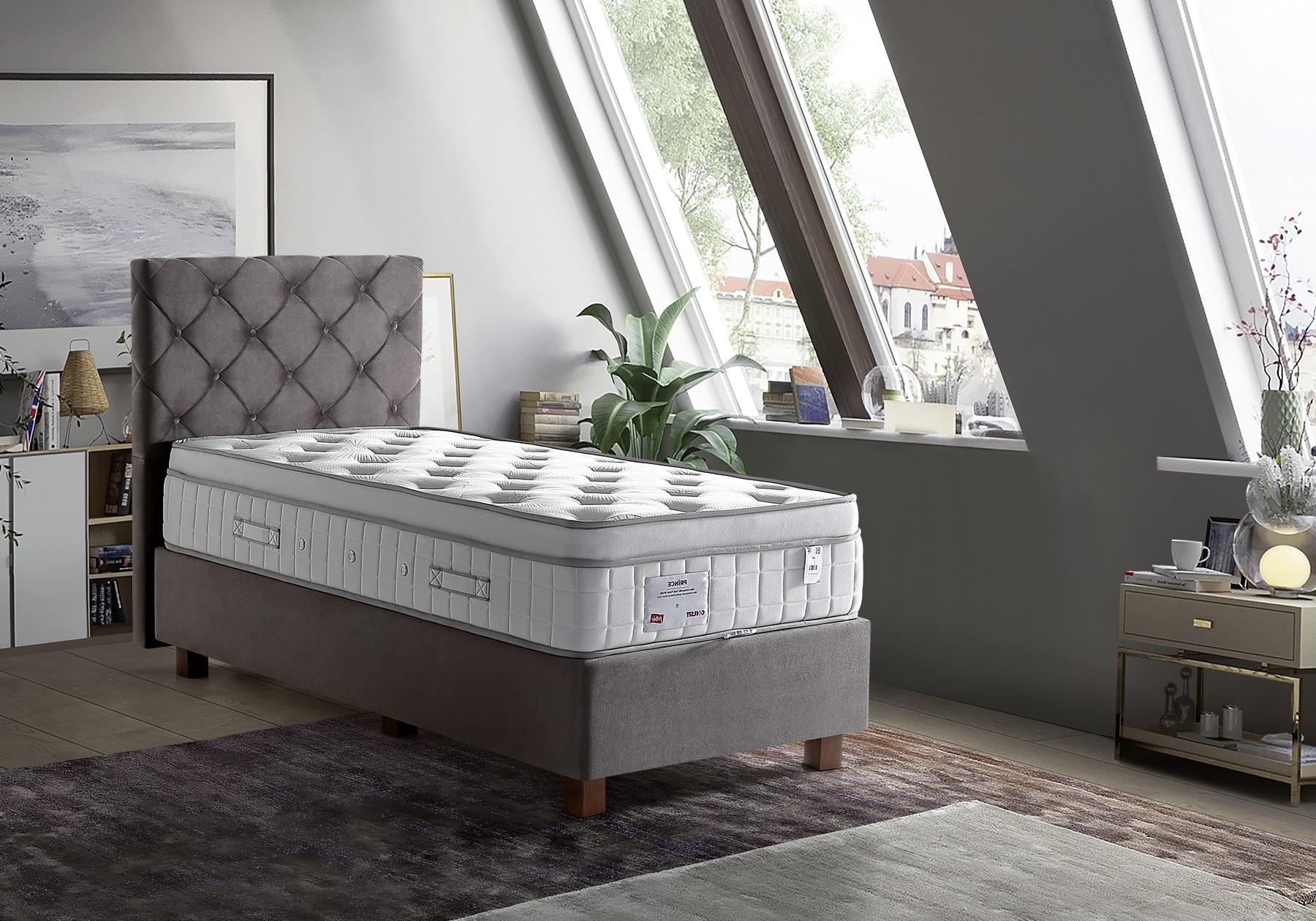 Lit coffre + tête de lit taupe + matelas 90x190 PRINCE/KARYA