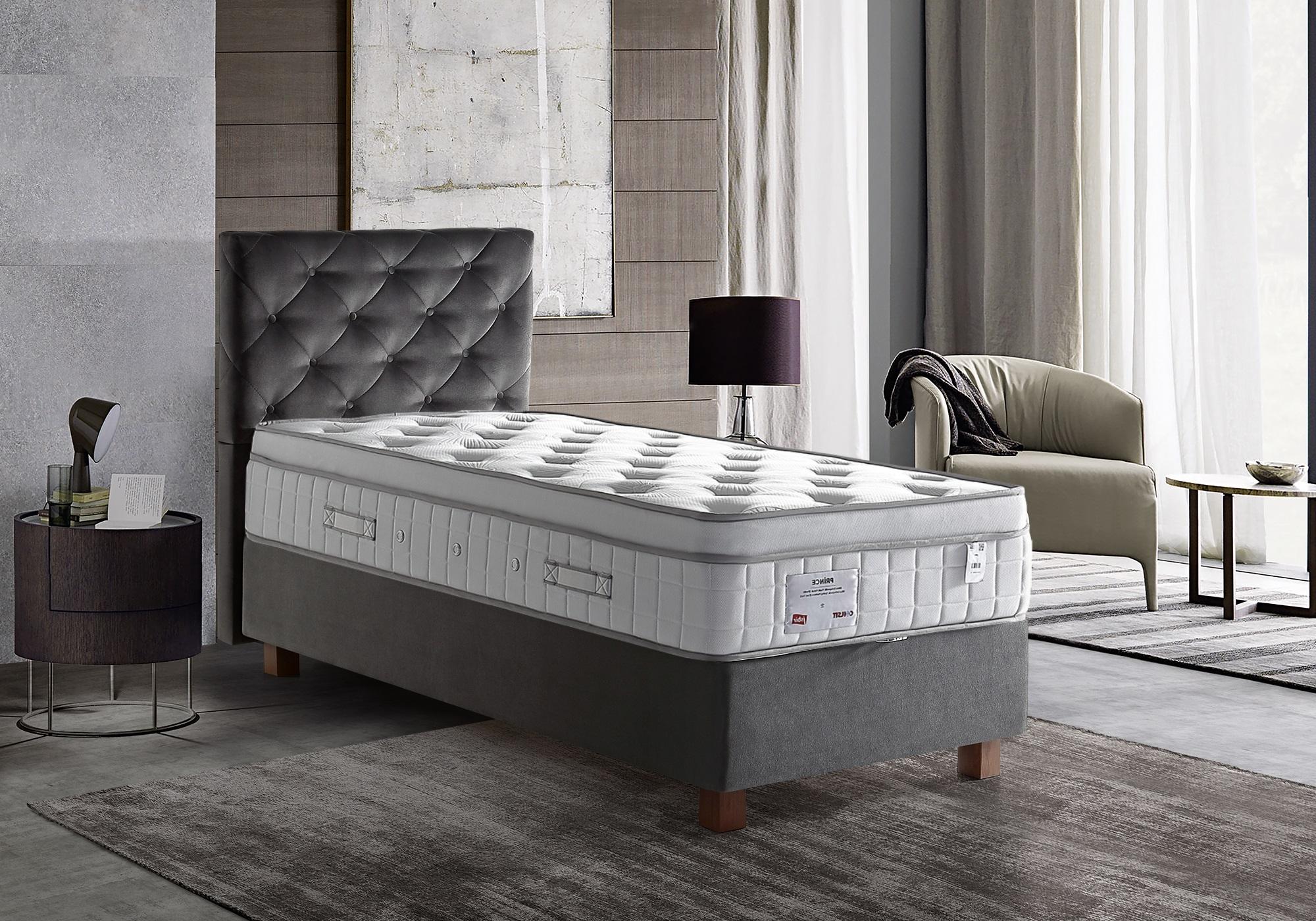 Lit coffre + tête de lit + matelas 90x190 PRINCE-KARYA Gris