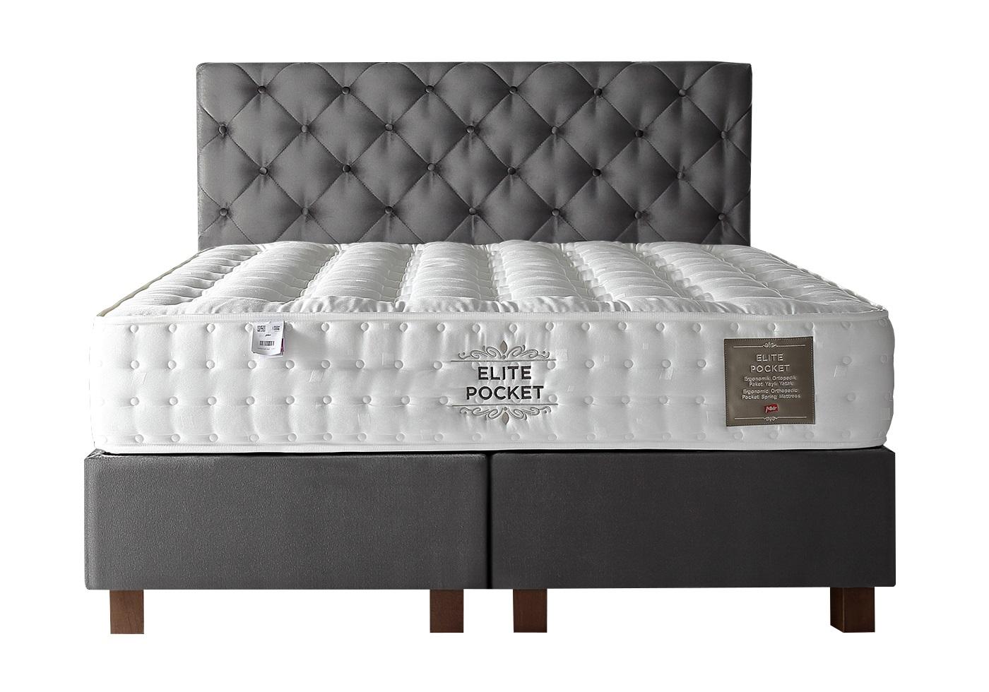 Lit coffre + tête de lit + matelas 160x200 ÉLITE/KARYA Gris