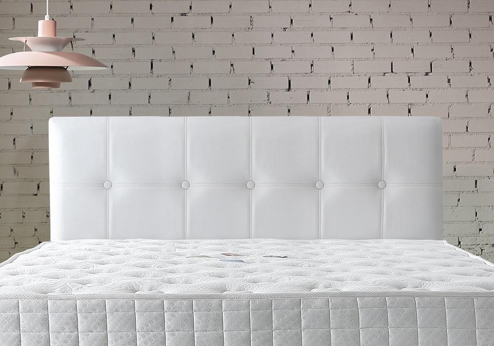 Tête de lit capitonné simili blanc BARI