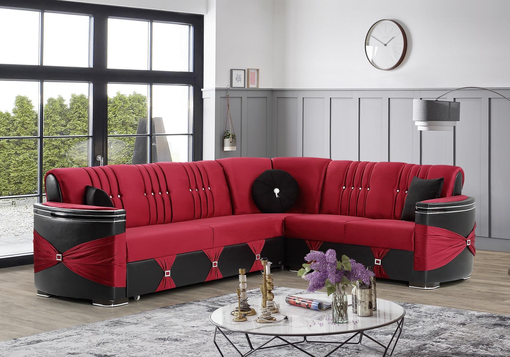 Canapé angle convertible-lit rouge PALACE