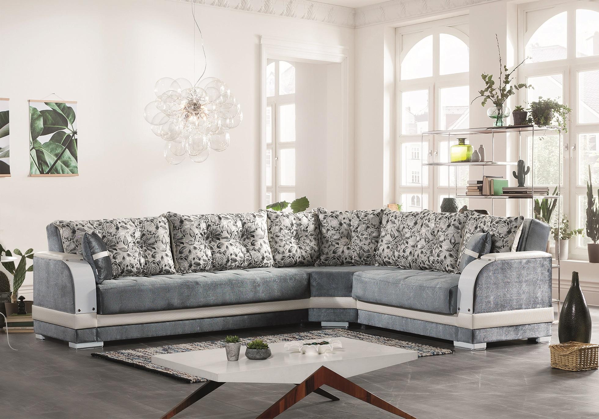 Canapé angle lit-coffre gris BAMAKO