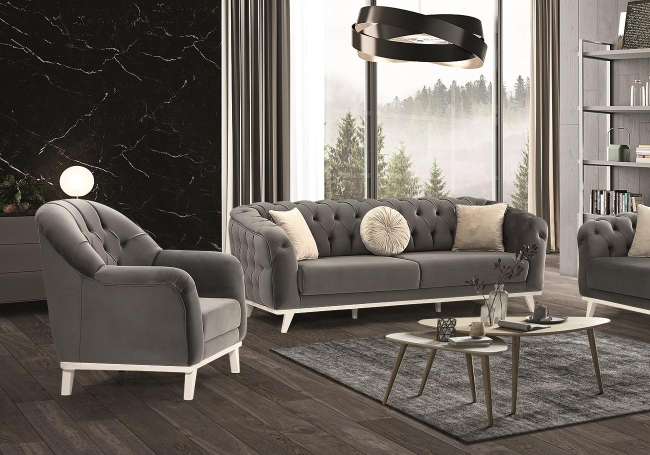 Canapé lit chesterfield velours gris SAFIR