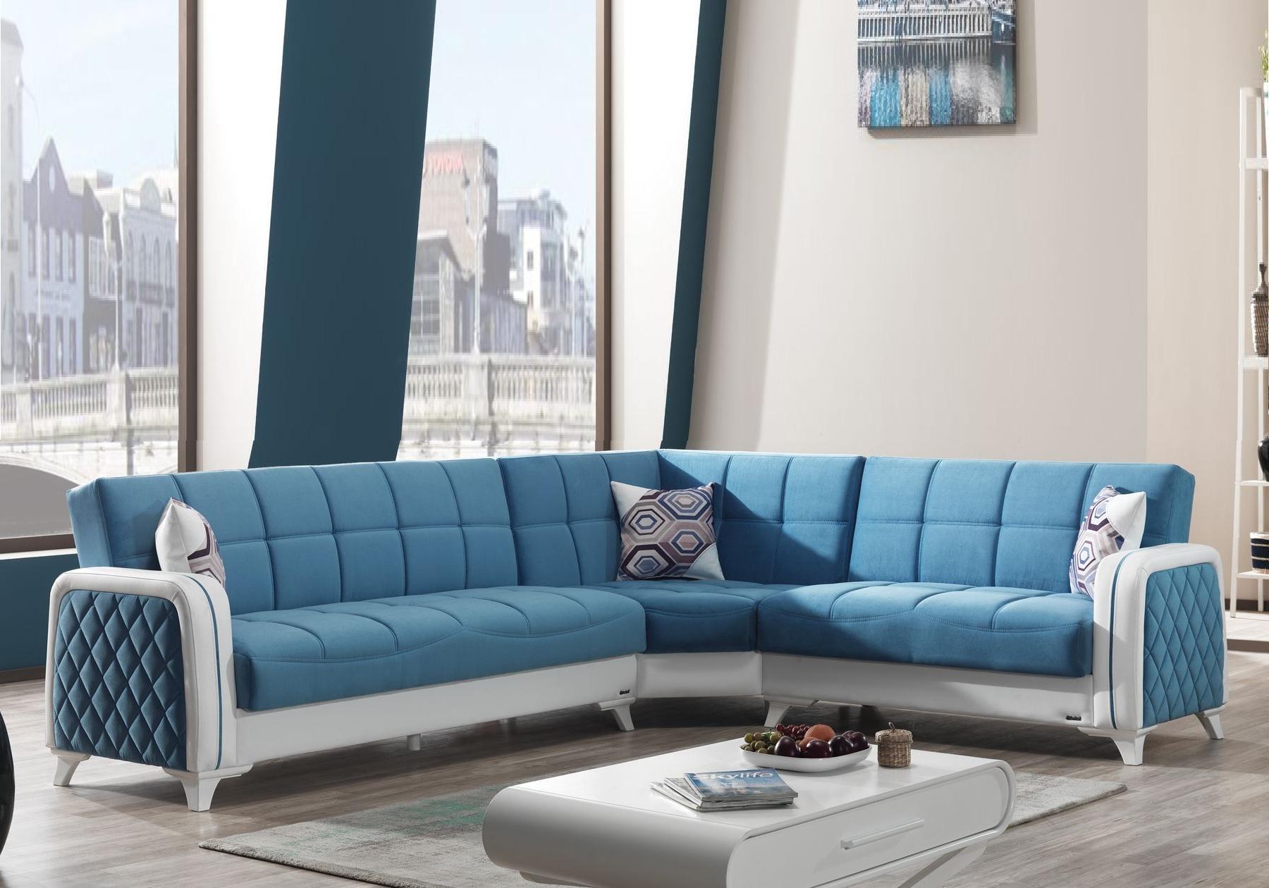 Canapé angle lit coffre velours bleu ÉLITE