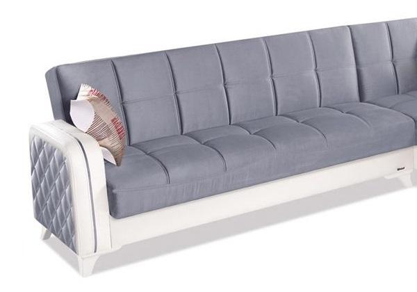 Canapé angle lit coffre velours gris ÉLITE-1