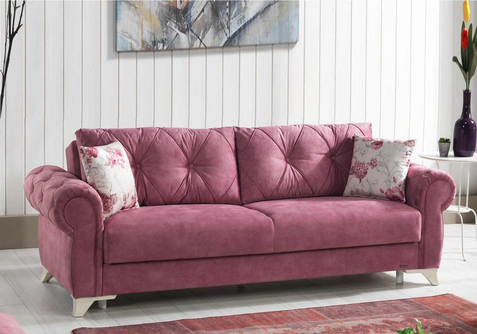 Canapé lit coffre tissu rose MITO