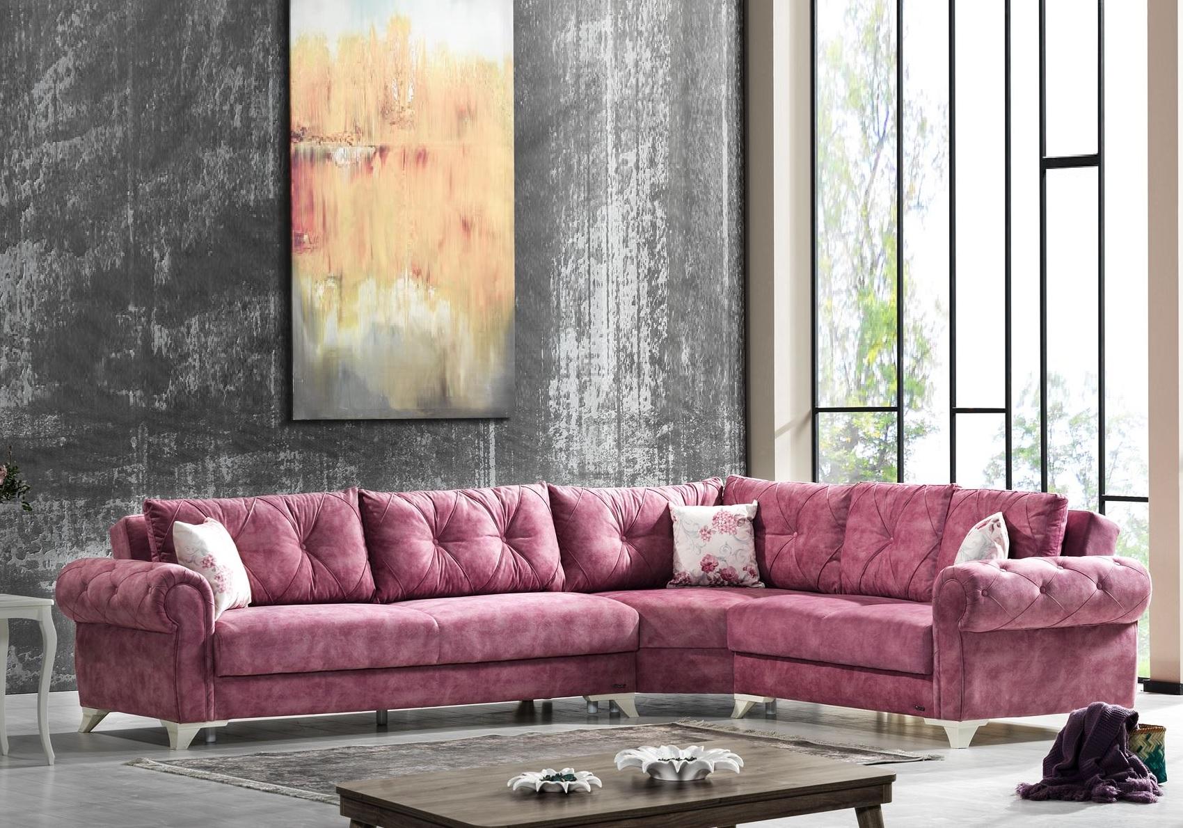Canapé angle lit coffre tissu rose MITO