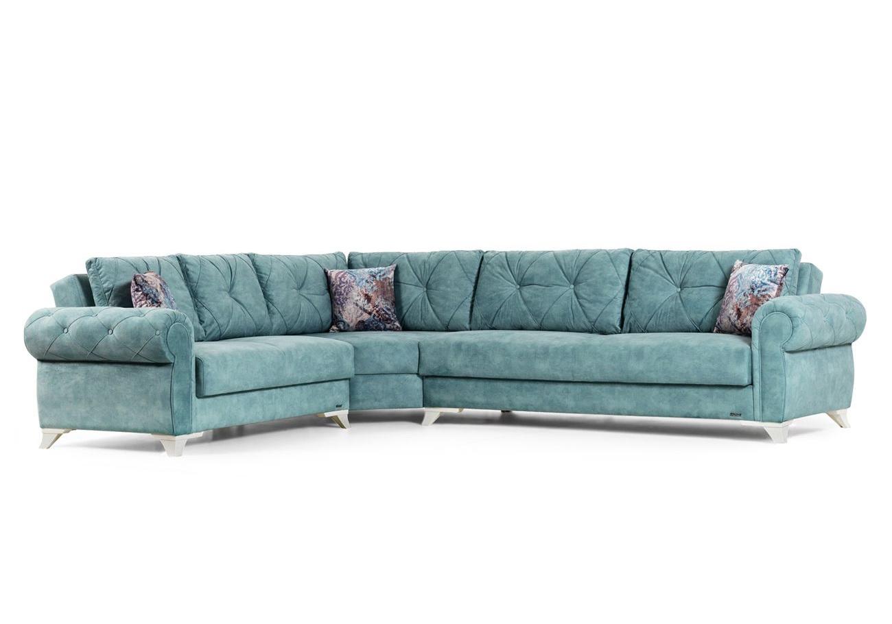 Canapé angle lit coffre turquoise MITO