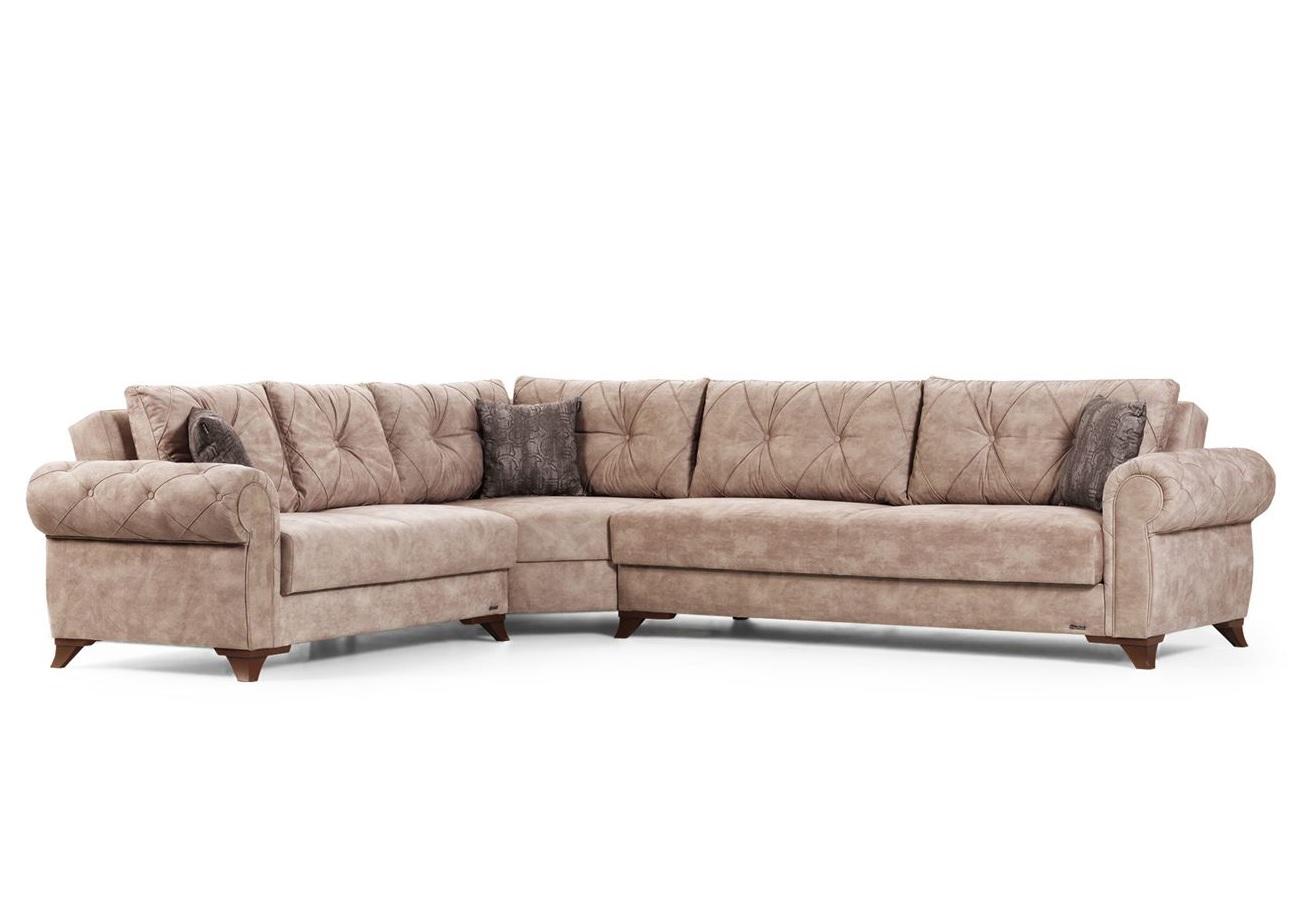 Canapé angle lit coffre beige MITO
