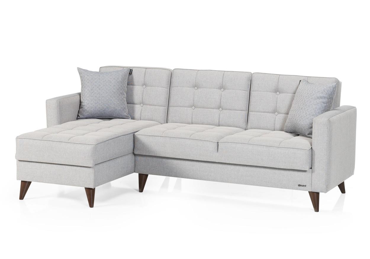 Canapé angle méridienne gris ORLANDO