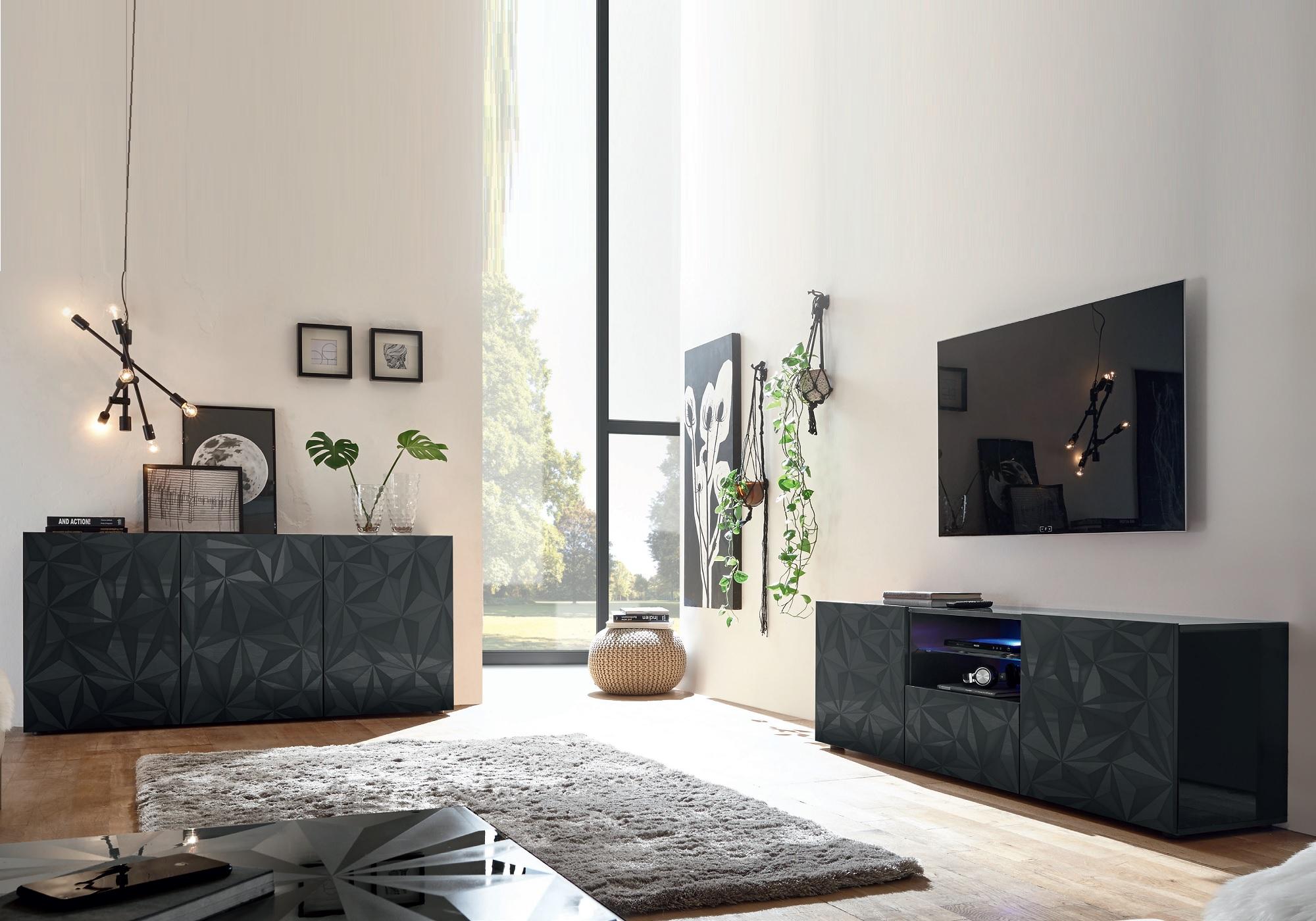 Ensemble meuble tv laqué gris LED PRISMA