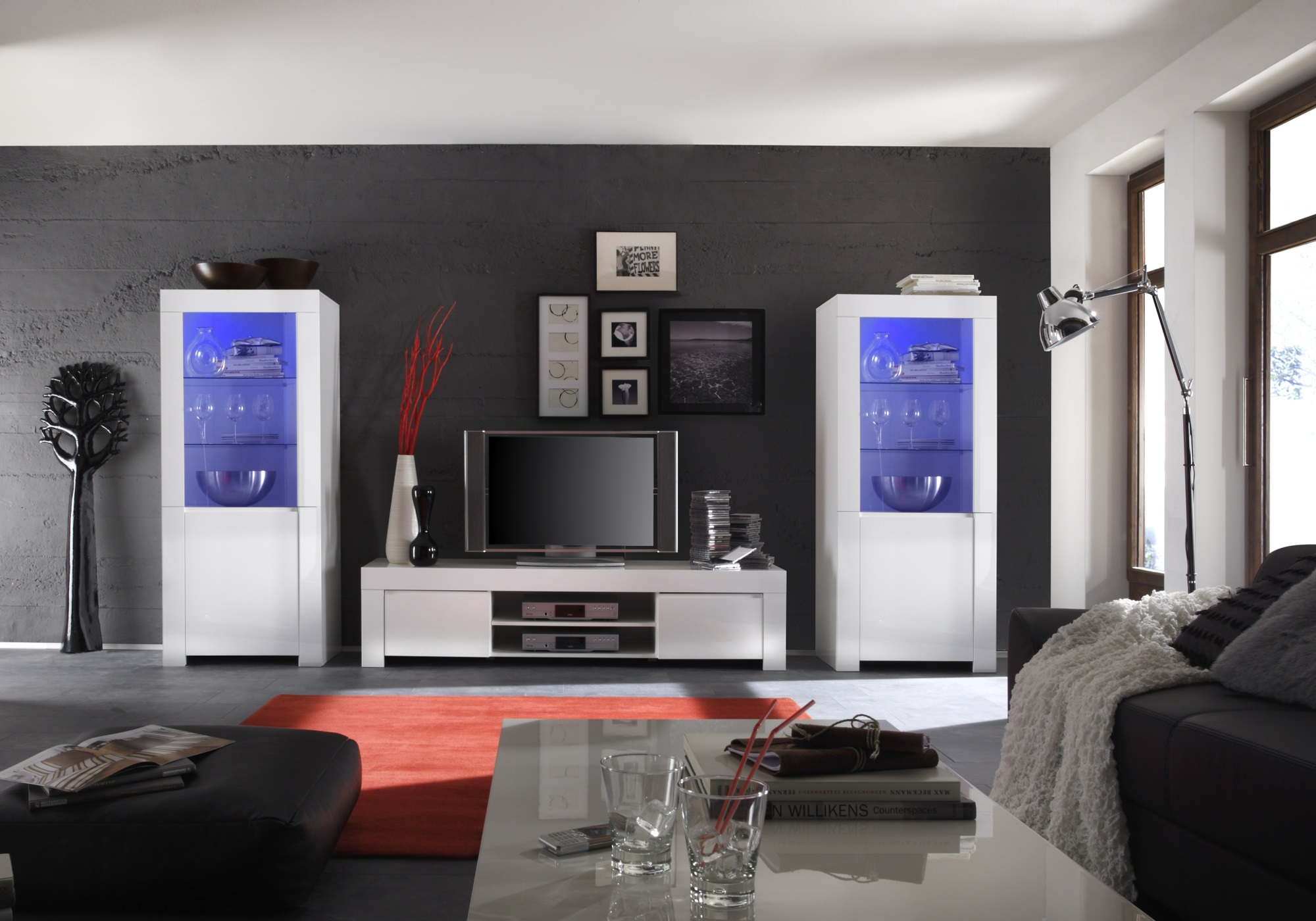 Ensemble meuble TV laqué blanc AMALFI I