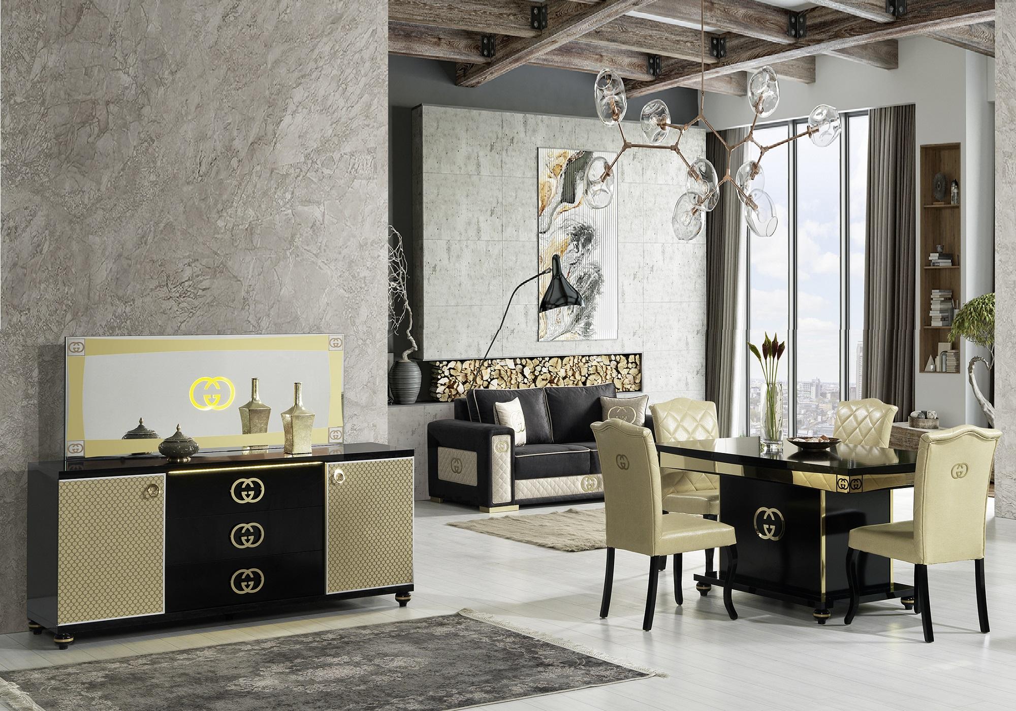 Salle à manger baroque noir doré GUGI