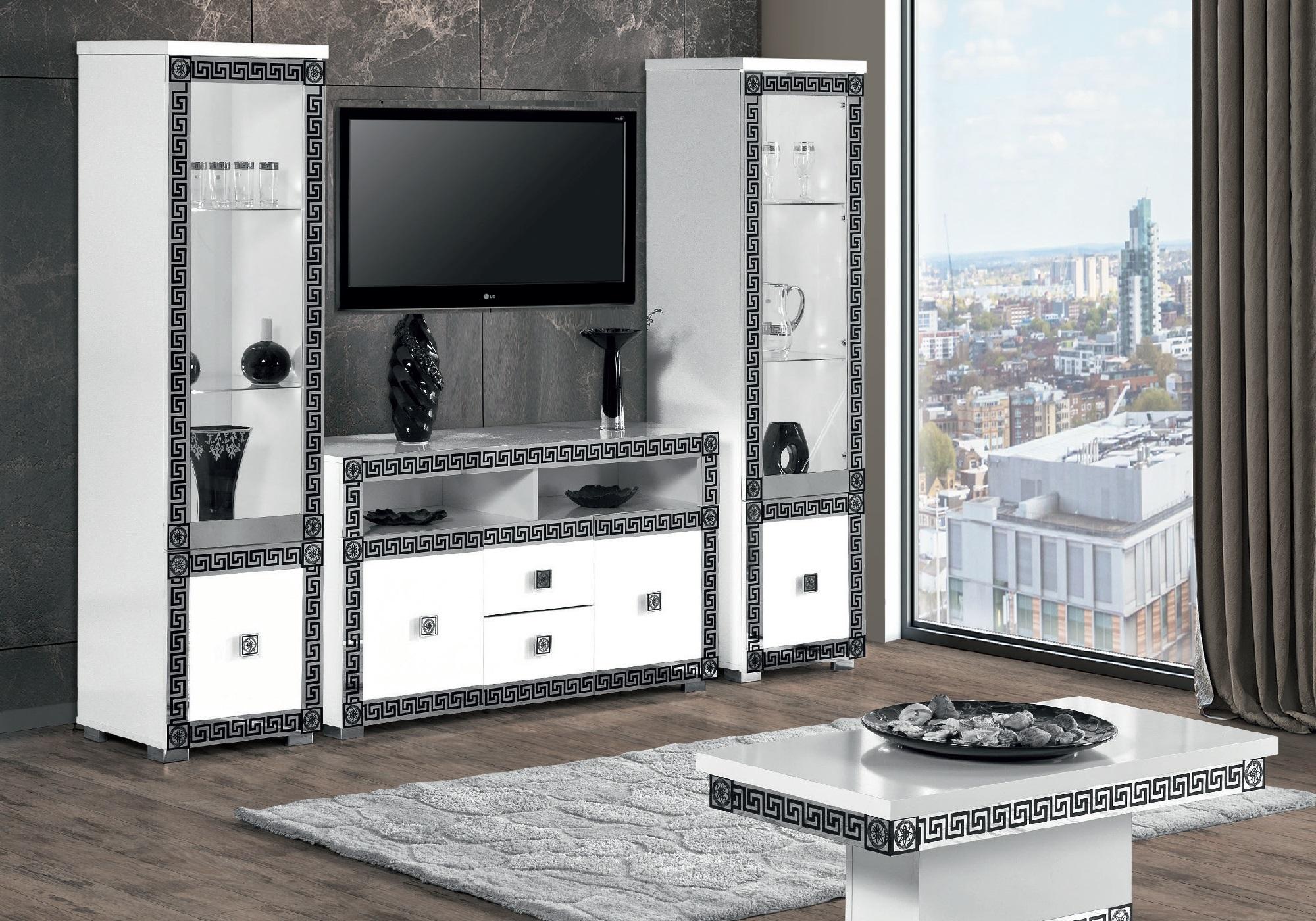 Mur TV blanc chromé style VERSACE