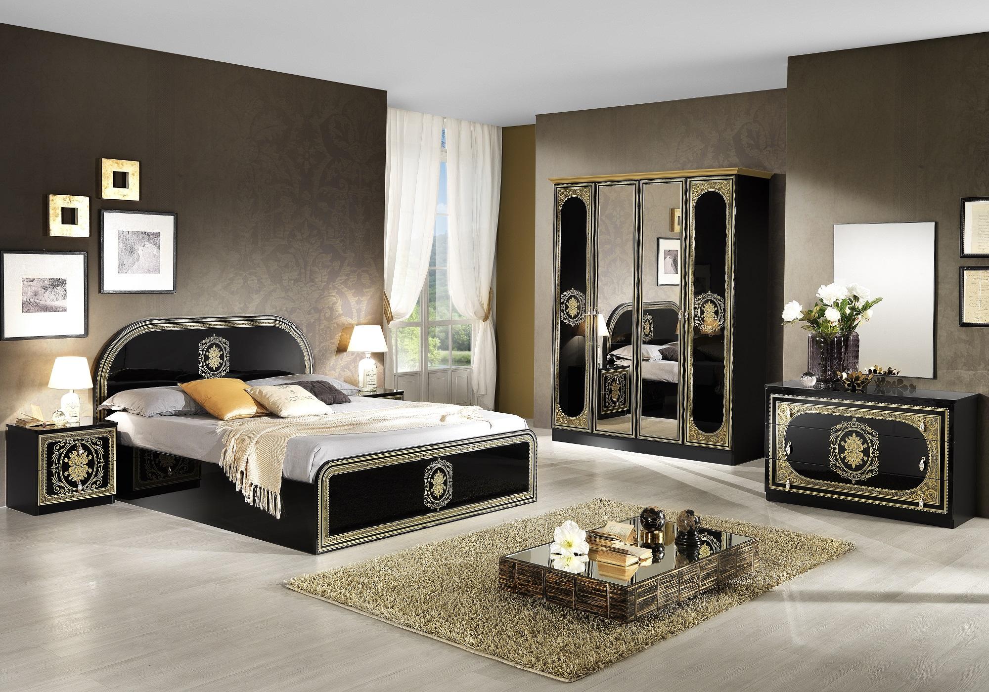 Chambre complète laqué noir doré SOFIA
