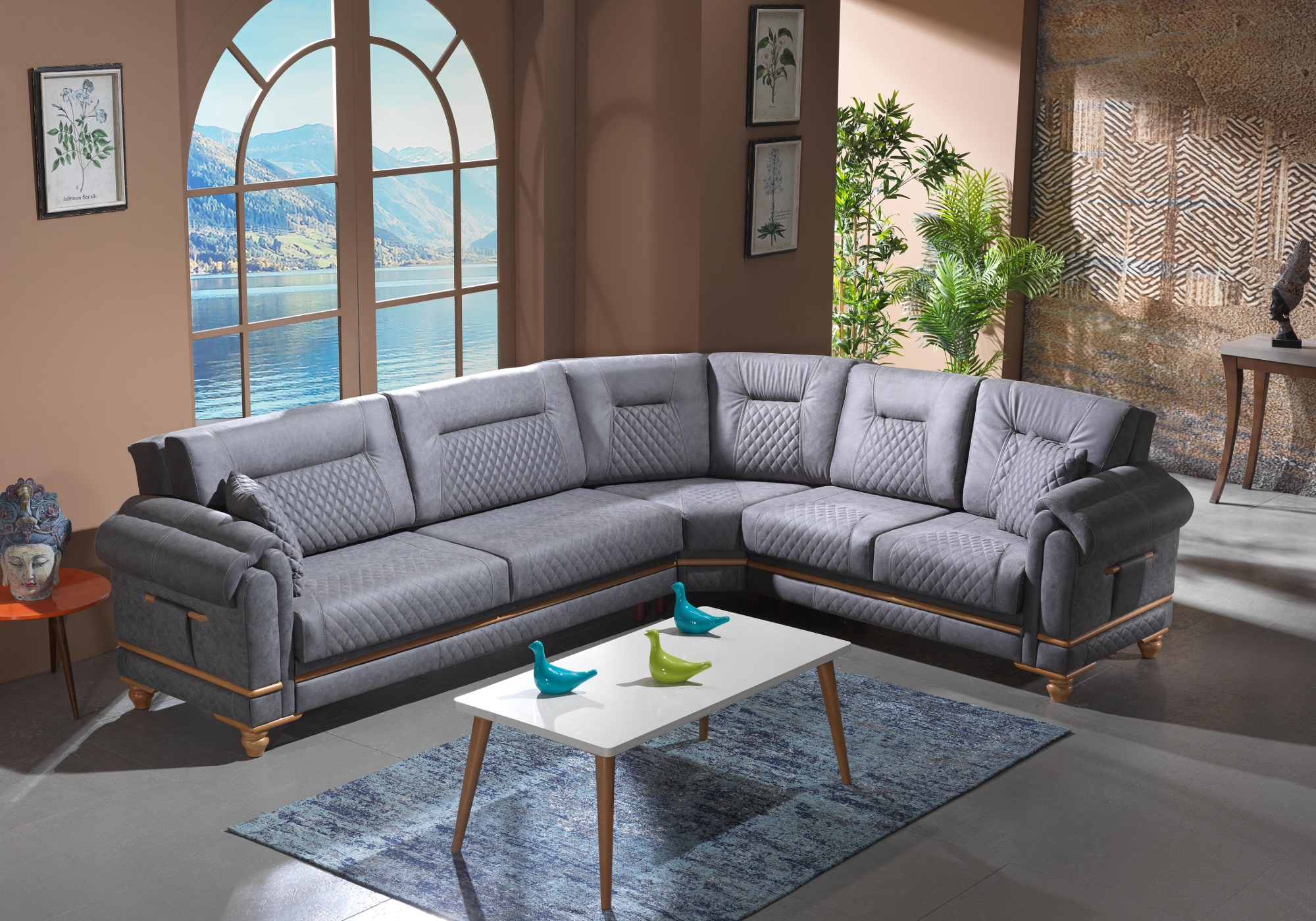 Canapé angle tissu daim gris TWEEN