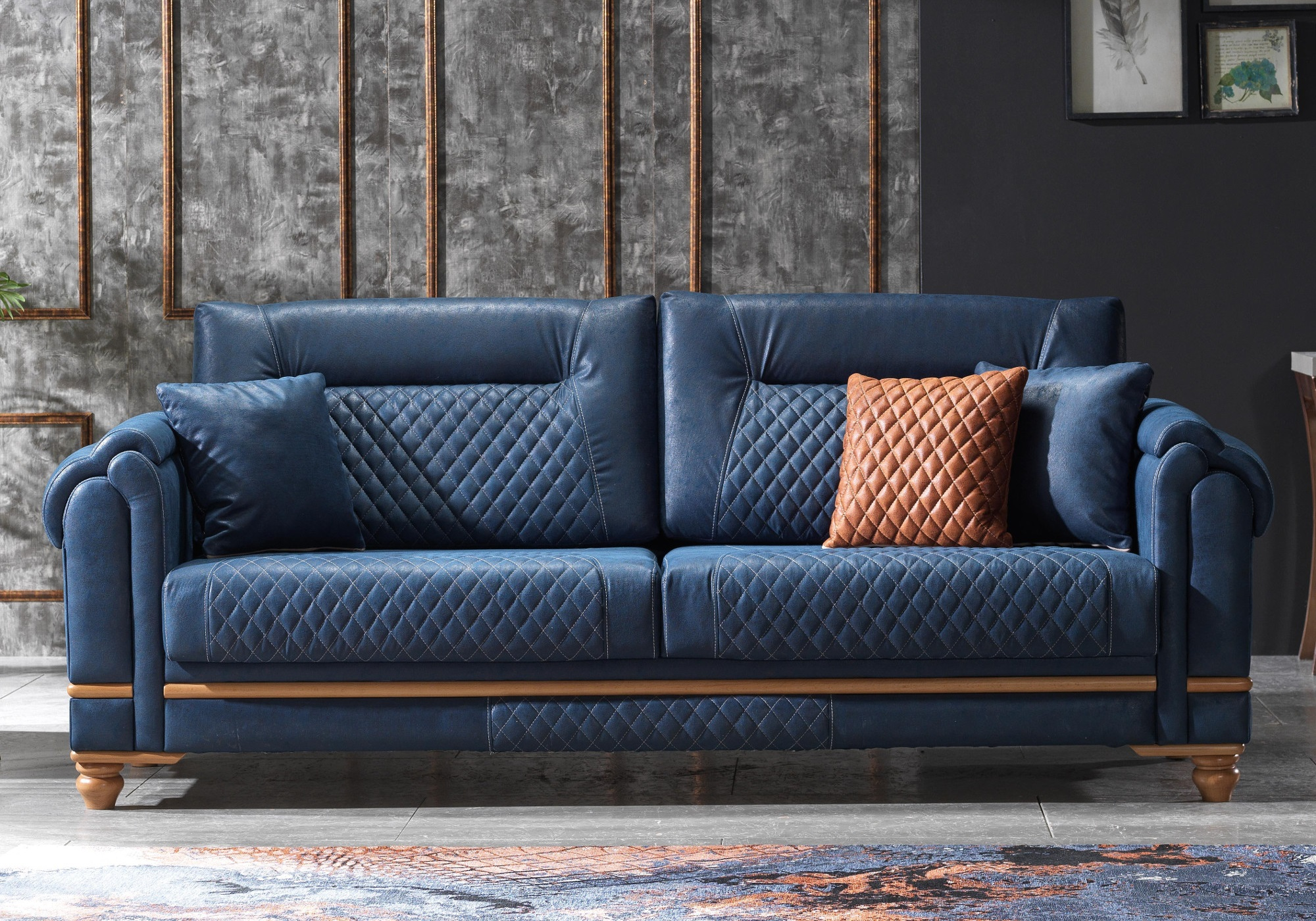 Canapé lit tissu daim bleu TWEEN