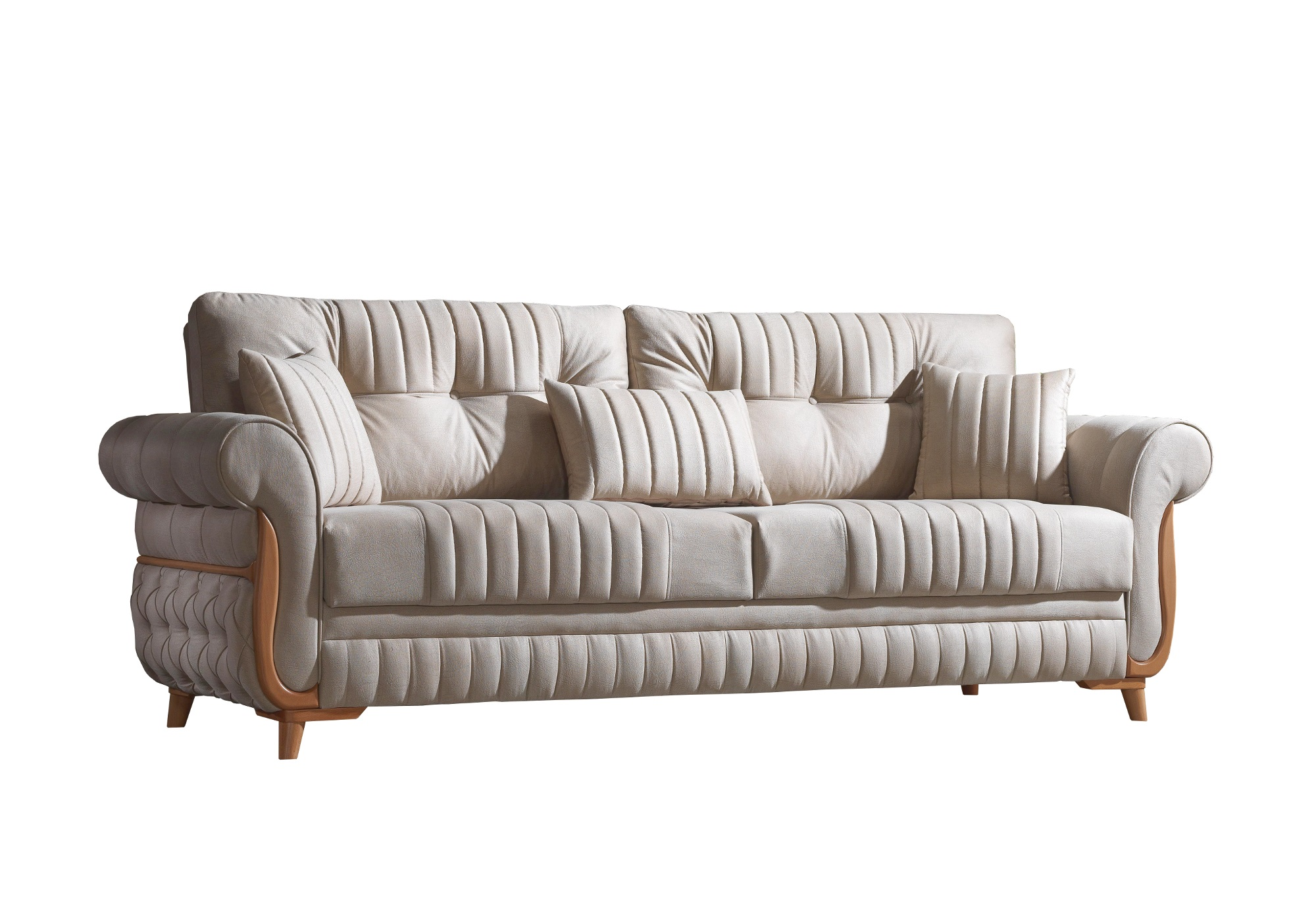 Canapé lit tissu daim beige MIRANDA