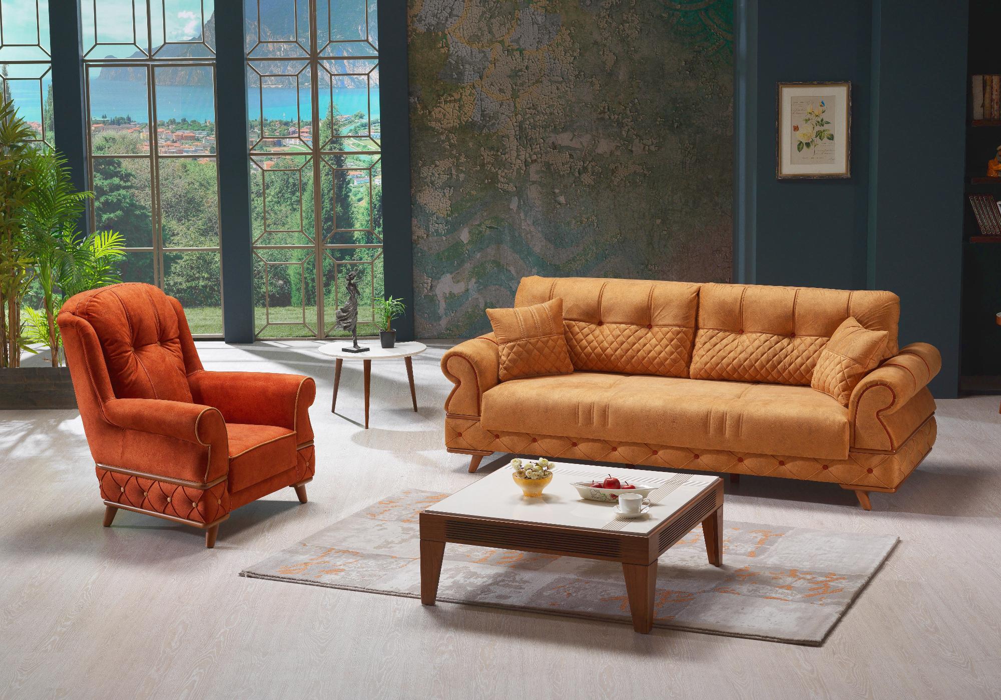 Canapé lit tissu daim orange PAVENA