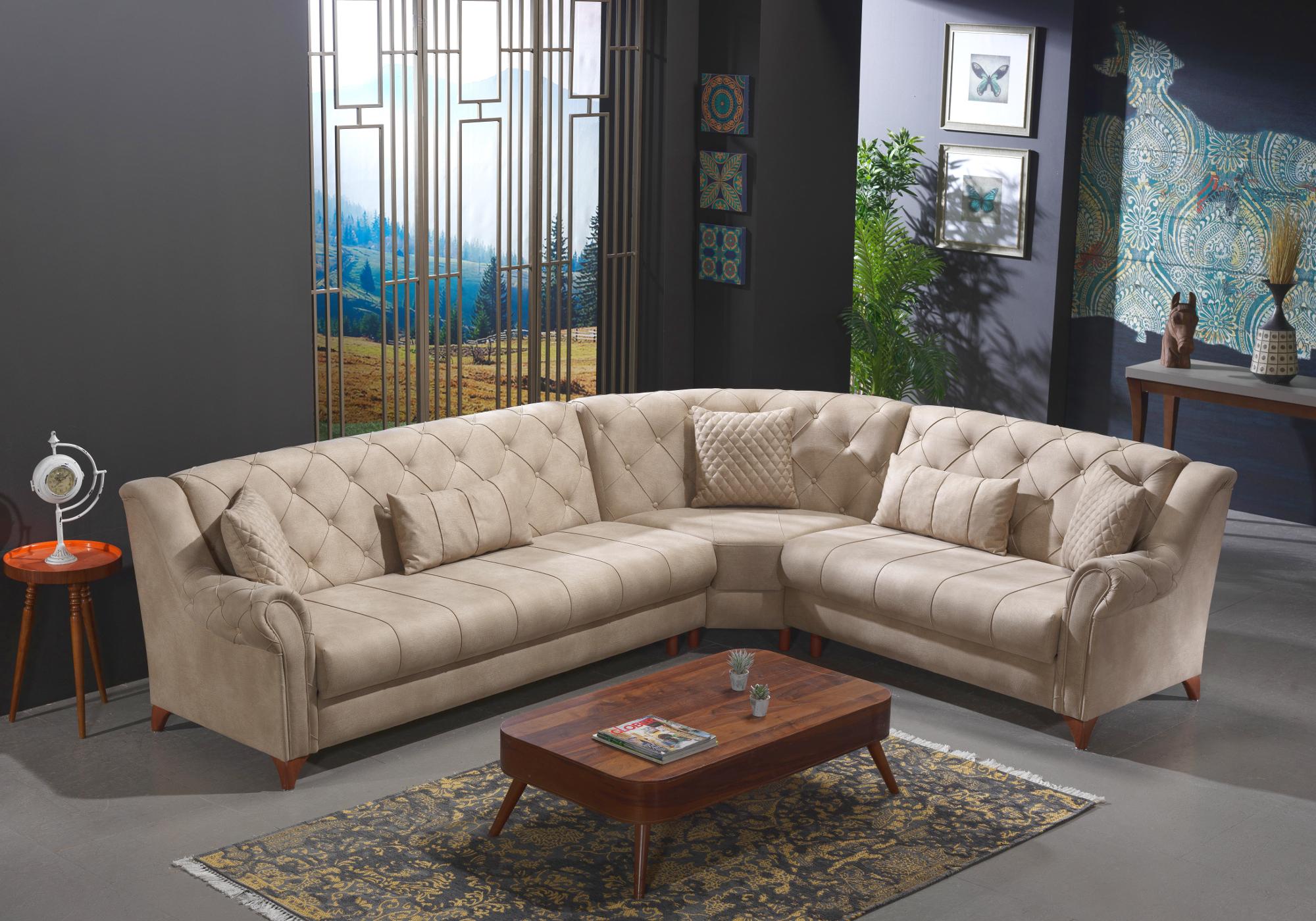 Canapé angle tissu daim sable MEVA