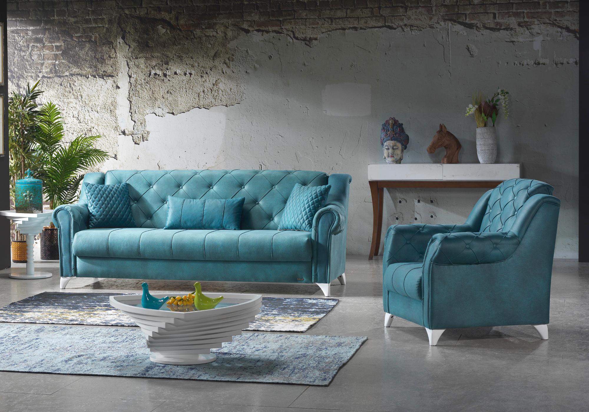 Canapé lit tissu daim bleu MEVA