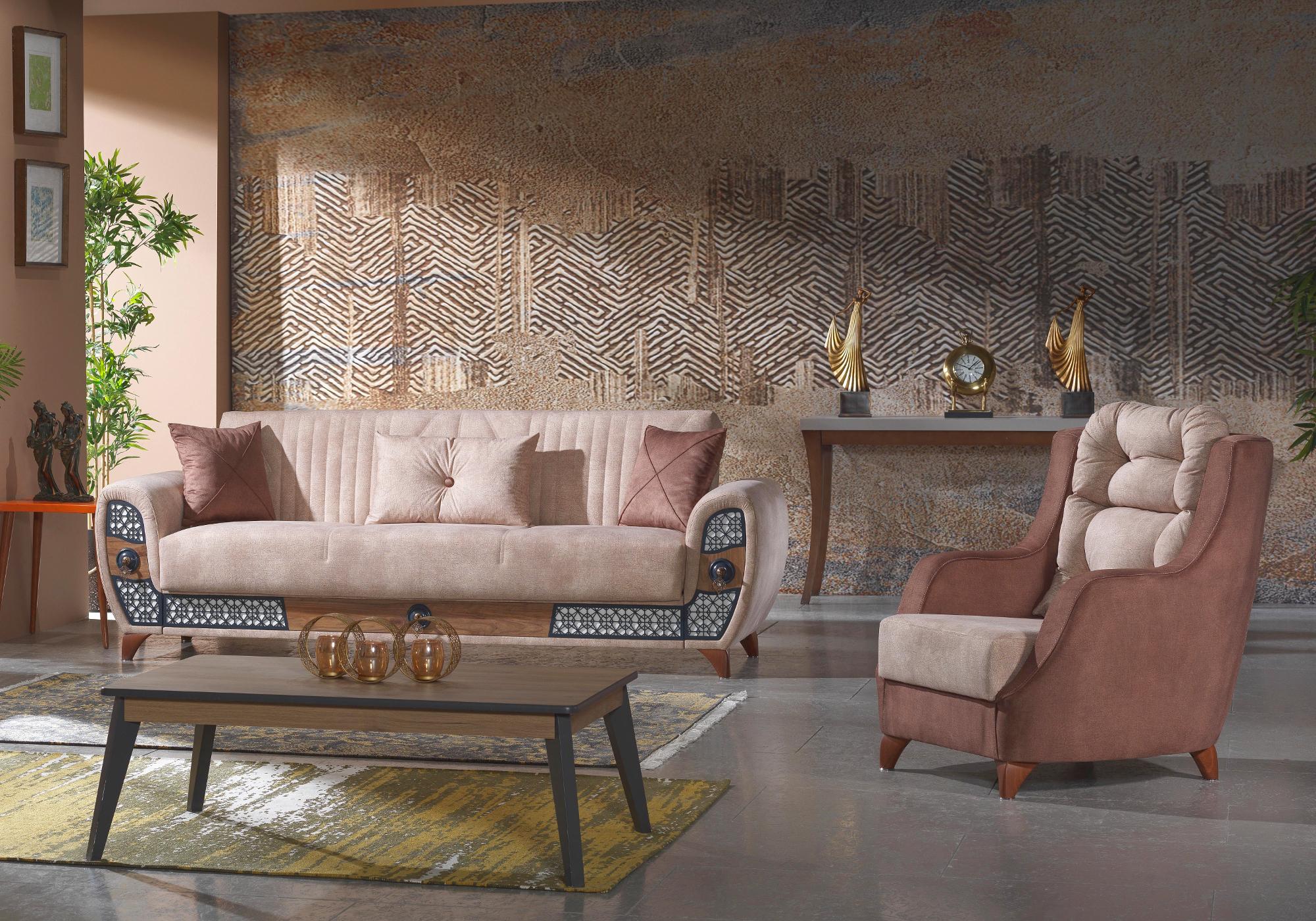 Canapé lit tissu daim beige MILAN