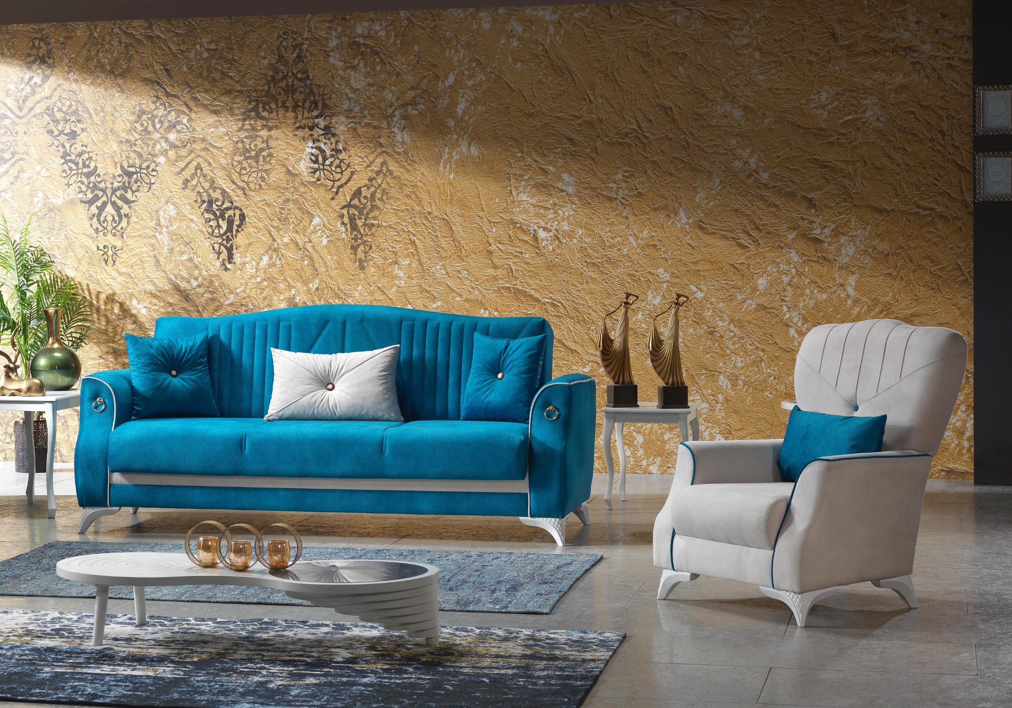 Canapé lit tissu daim bleu VALS