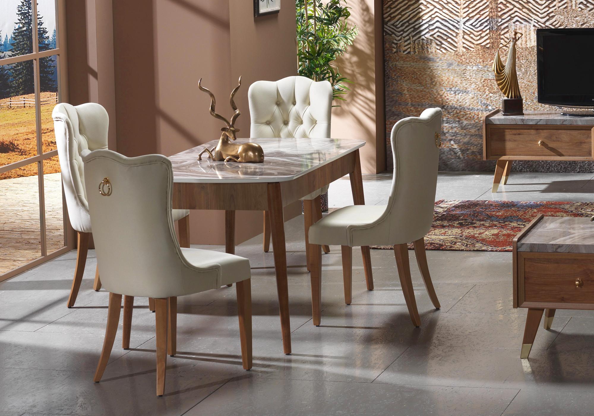 Table + 4 chaises bois marbré ERVA