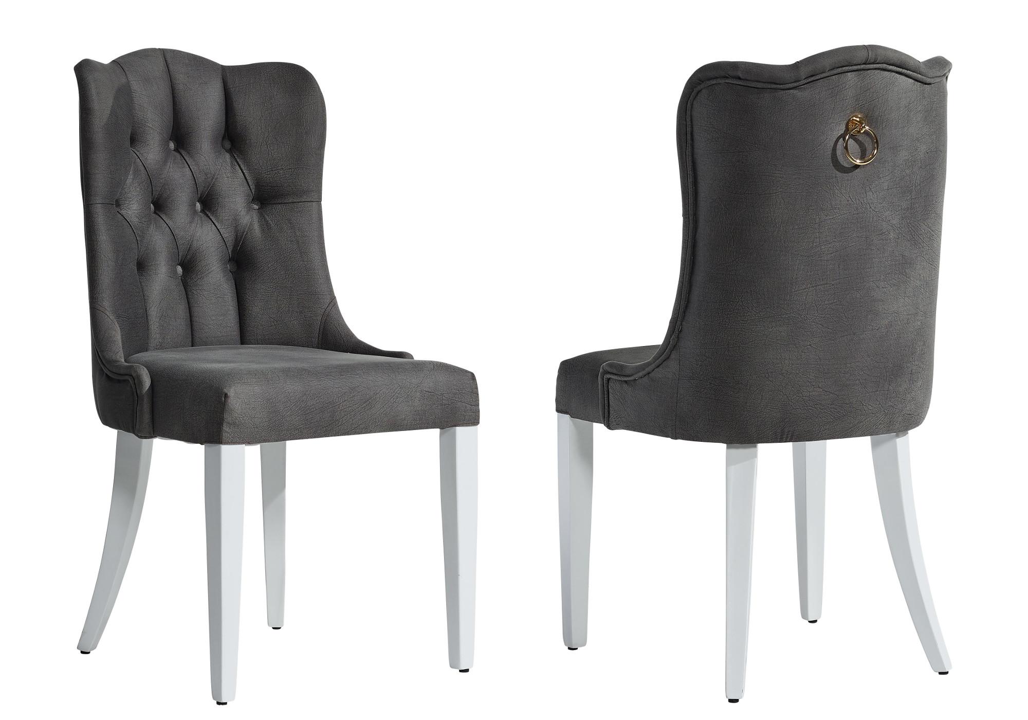 Chaise capitonné gris ERVA