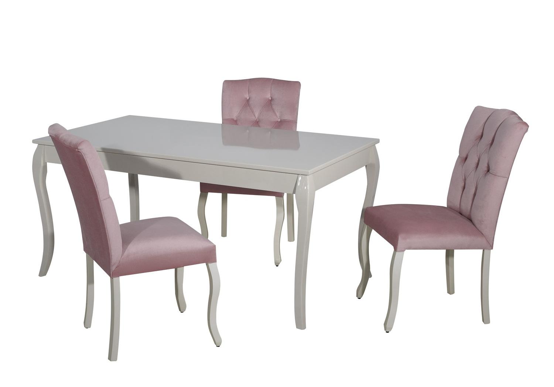 Table + 4 chaises rose BAROK