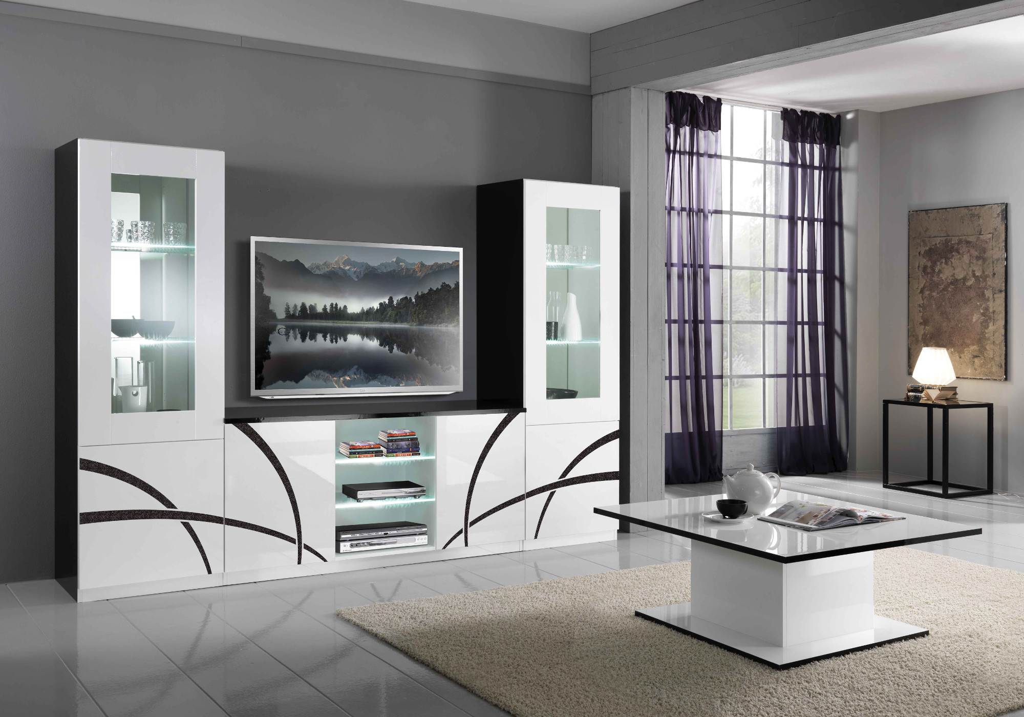 Mur TV laqué noir blanc MILANO