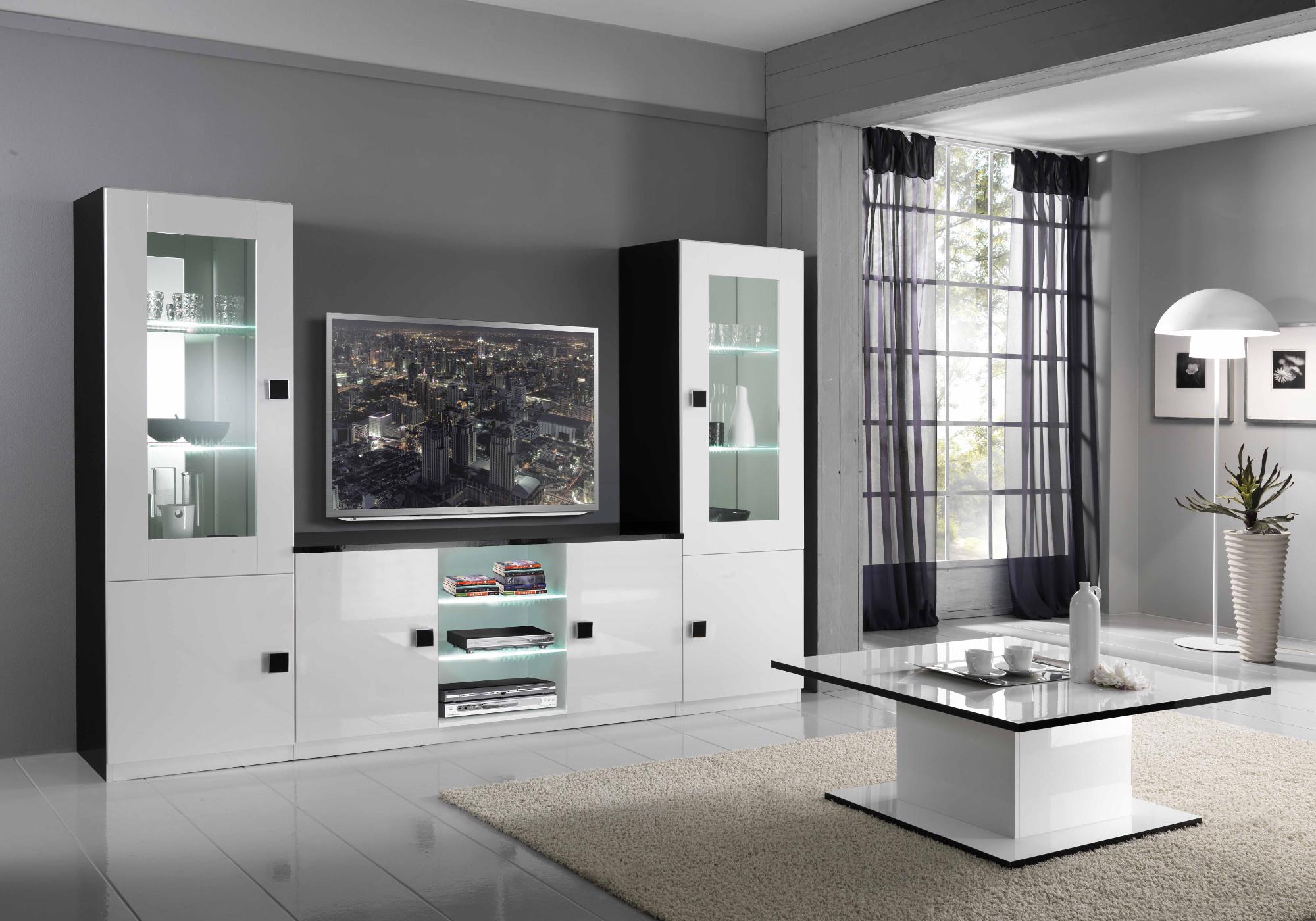 Mur TV laqué noir blanc AURORA