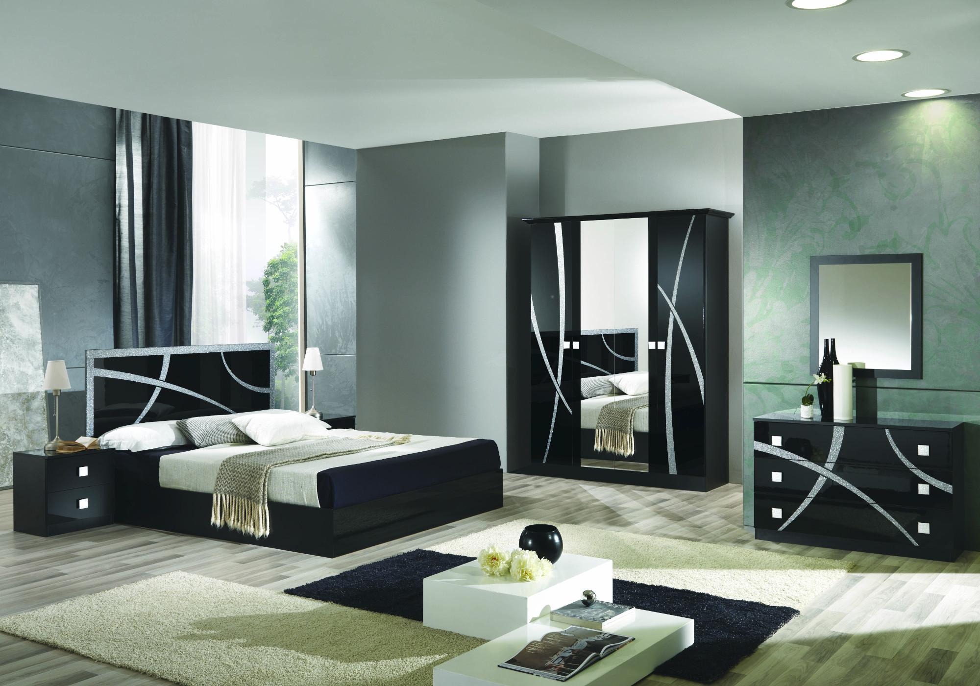 Chambre complète noir argenté MILANO