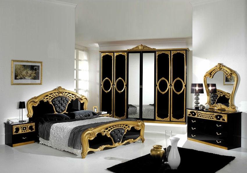 Chambre capitonné noir doré SIBILLA XL
