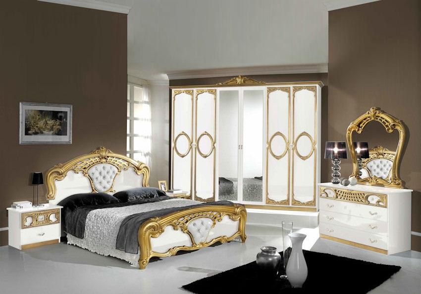 Chambre capitonné blanc doré SIBILLA XL