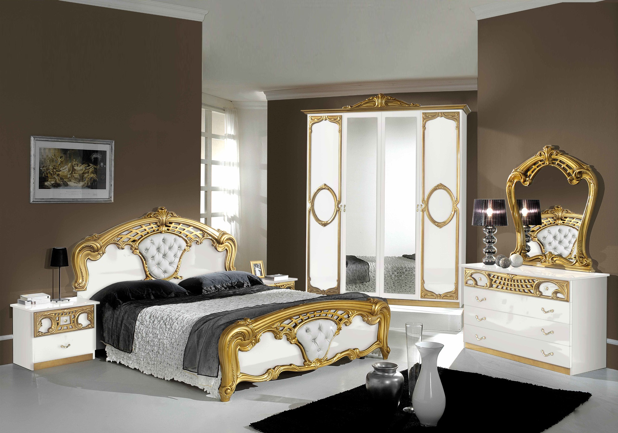 Chambre capitonné blanc doré SIBILLA