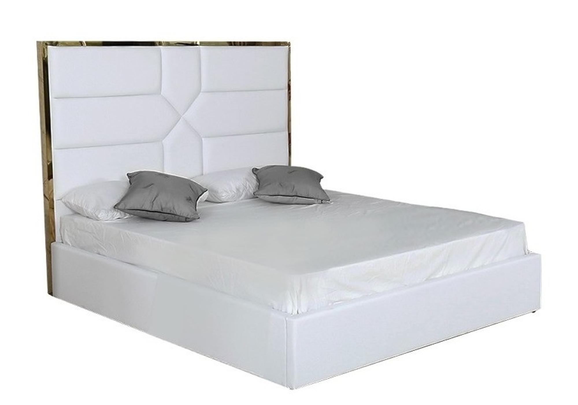 Lit coffre design laiton blanc LINAÉ XL