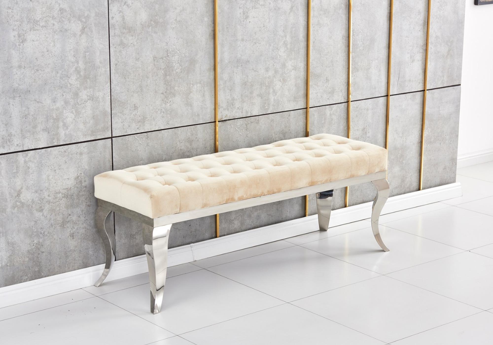 Banc design chromé velours beige NEO