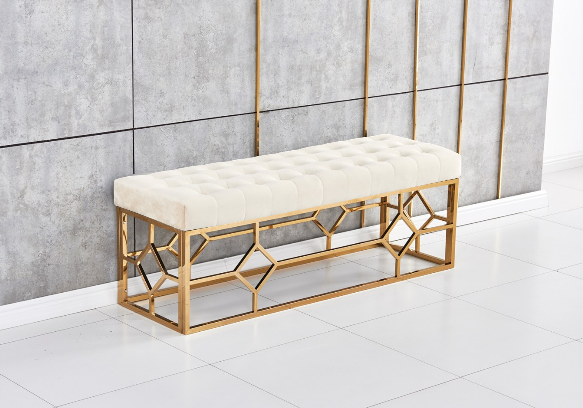 Banc design doré velours beige ABEL