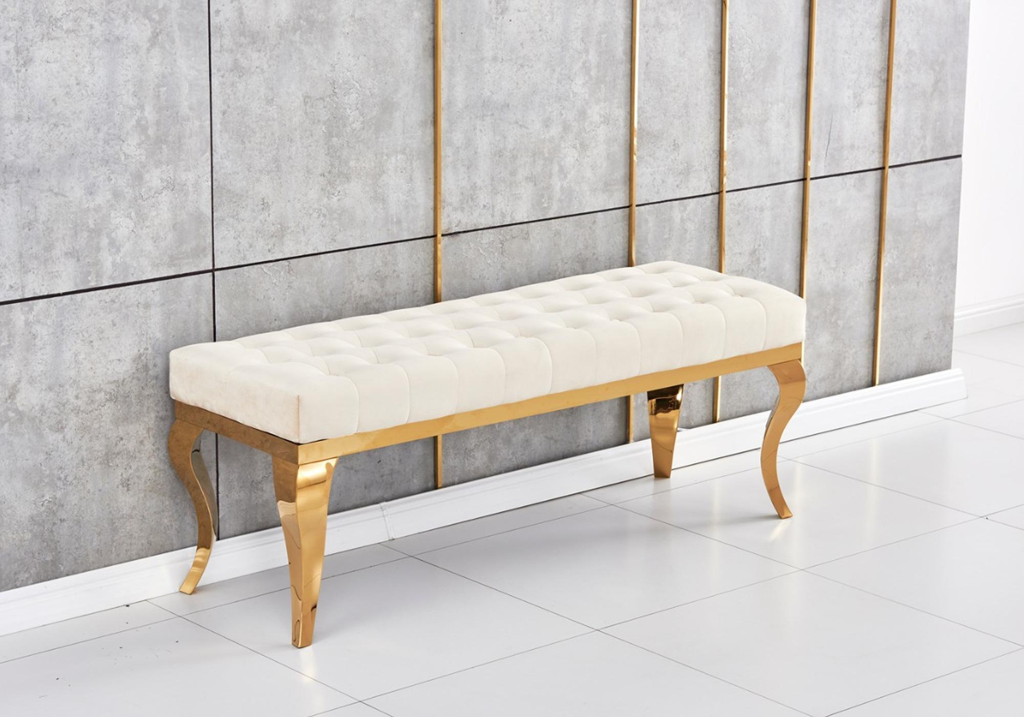 Banc design doré velours beige NEO