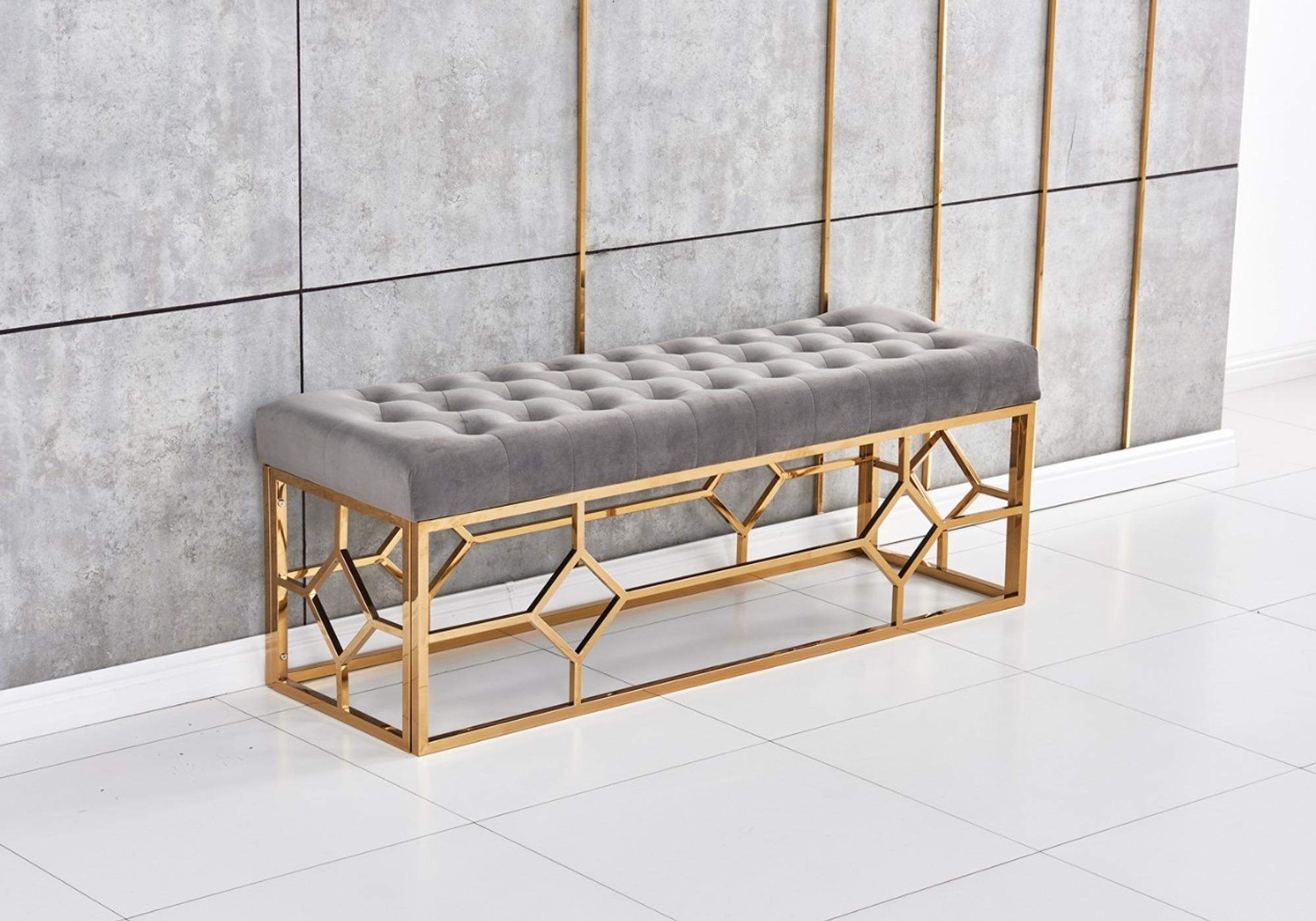 Banc design doré velours gris ABEL