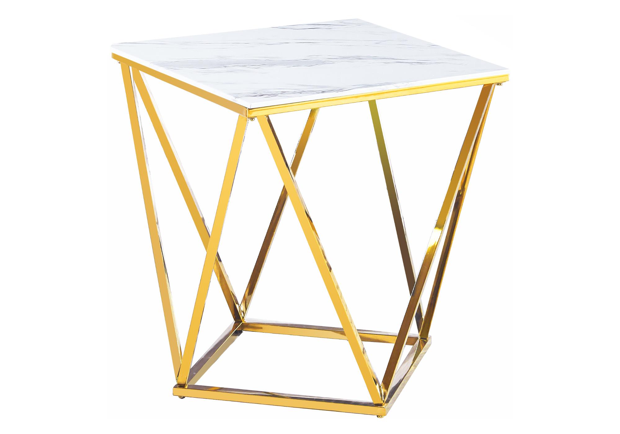 Bout canapé doré marbre blanc ILÉA