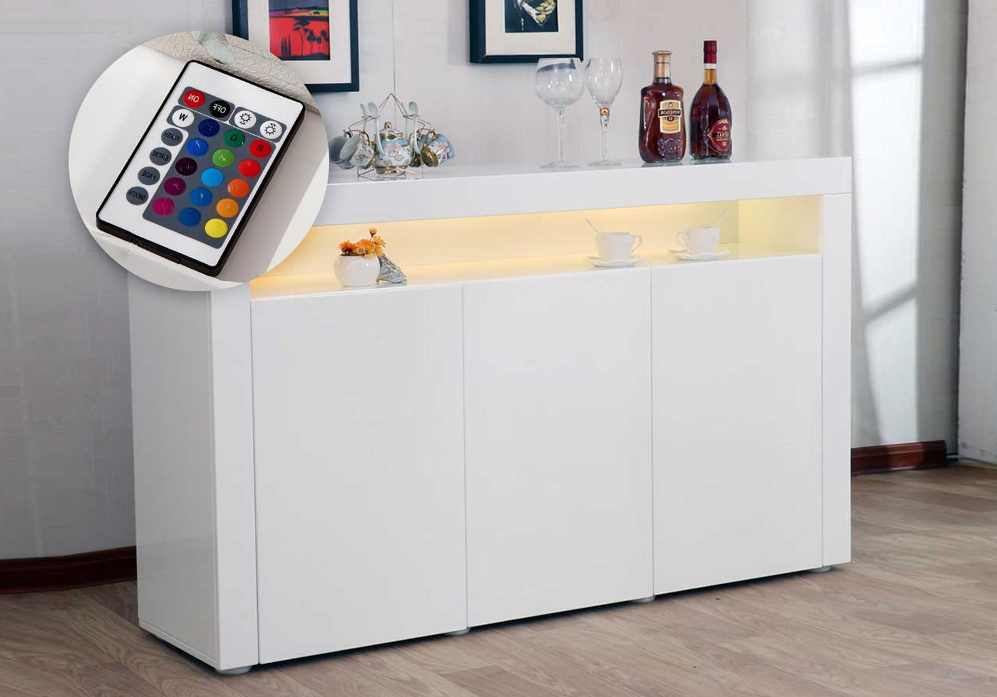 Buffet design laqué blanc led ORÉA