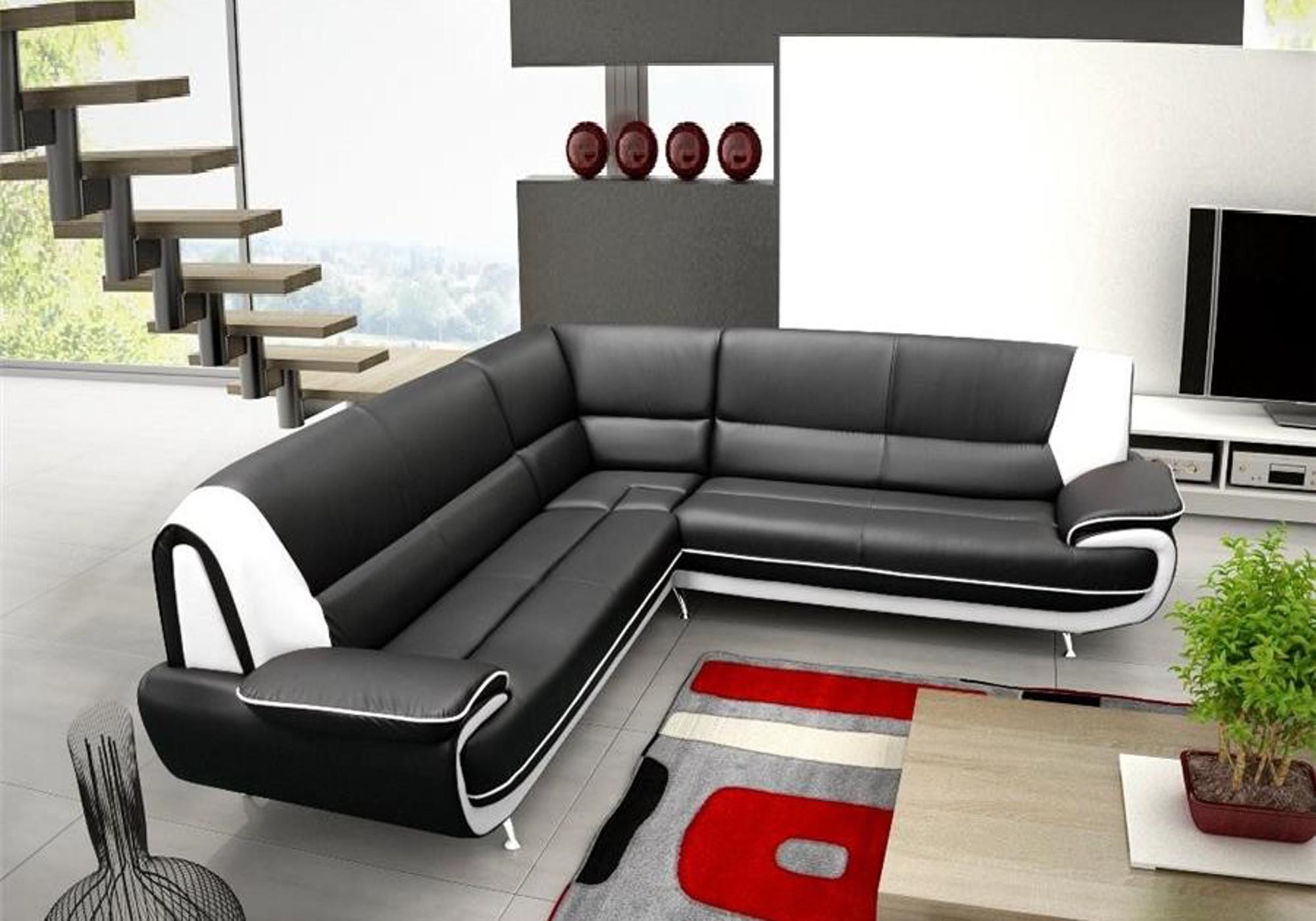 Canapé angle design noir blanc CLOÉ