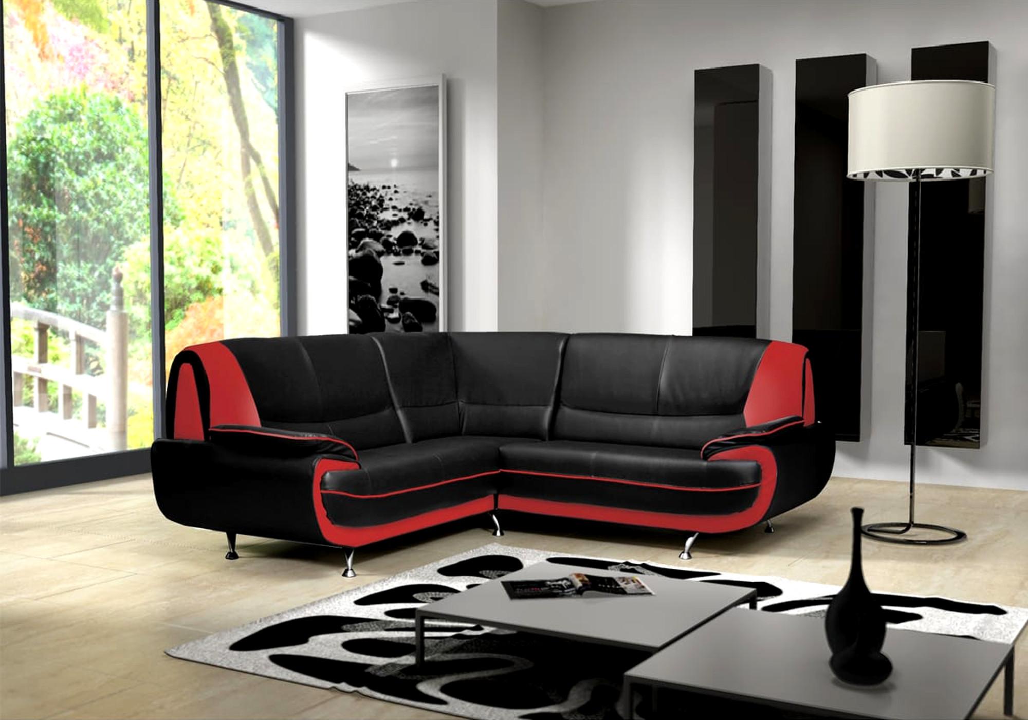 Canapé angle design noir rouge CLOÉ