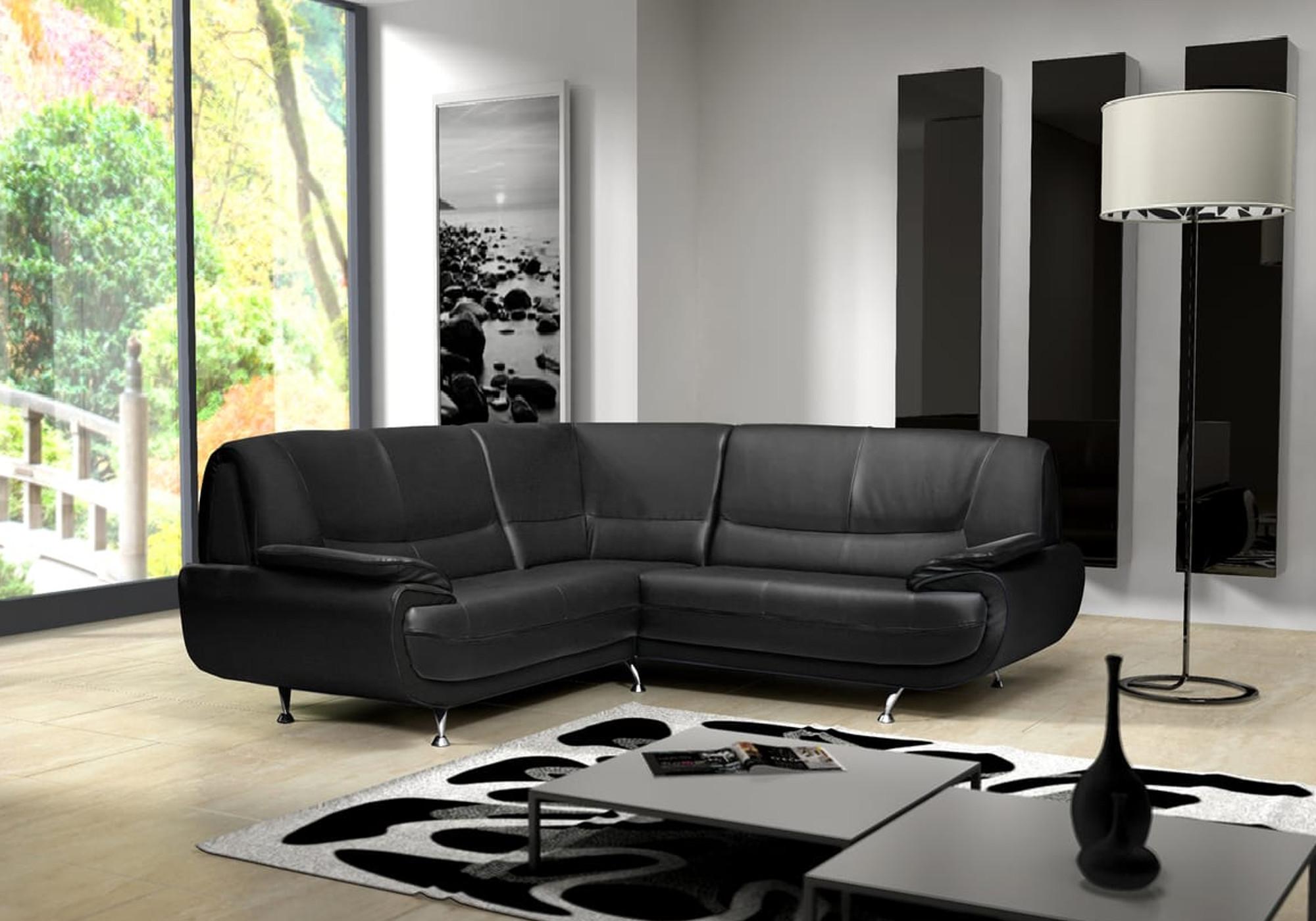 Canapés angle design simili noir CLOE.1